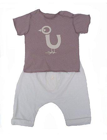 Conjunto Camiseta e calça Cru para bebê