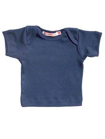 Camiseta Manga Curta Básica para Bebê Marinho Unissex
