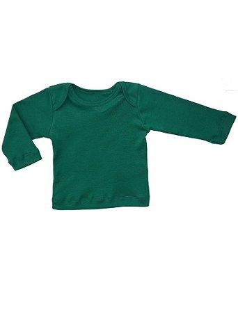 Camiseta Manga Longa em Malha Básica Verde Bandeira para Bebê