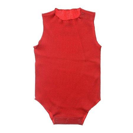Body Regata em Malha Vermelha para Bebê