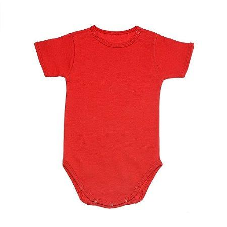 Body Manga Curta em Malha Vermelha para Bebê Unissex