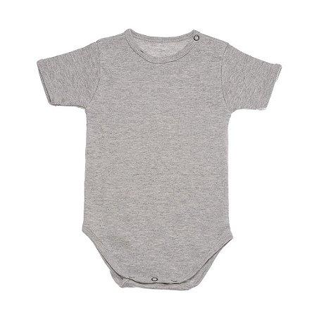 Body Manga Curta em Malha Mescla Cinza para Bebê