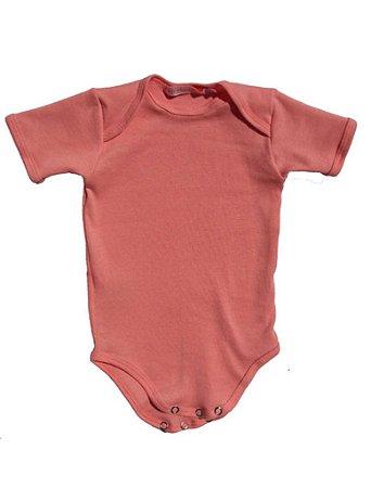 Body Manga Curta Básico em Malha Rosa para Bebê