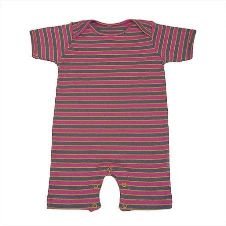 Macacão Manga Curta Listrado Rosa Cinza para Bebê