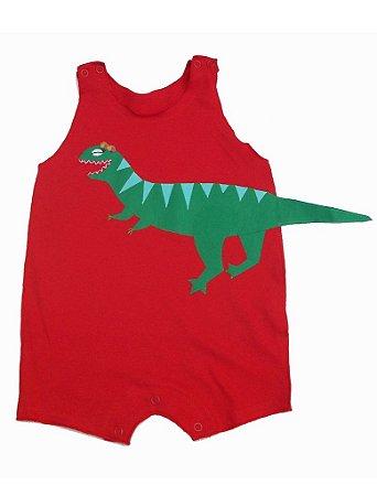 Macacão Regata em Malha Vermelha Dinossaura para Bebê Menina