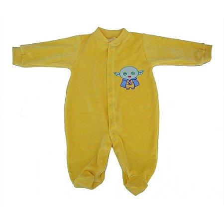 Macacão Manga Longa Plush Amarelo para Bebê Unissex