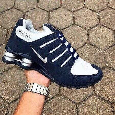 Tênis Nike Shox NZ 4 Molas Azul com Branco Importado - Pronta Entrega