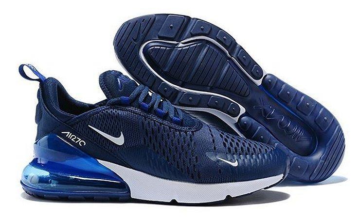 Tênis Masculino Nike Air Max 270 Azul com Branco Original - Pronta Entrega