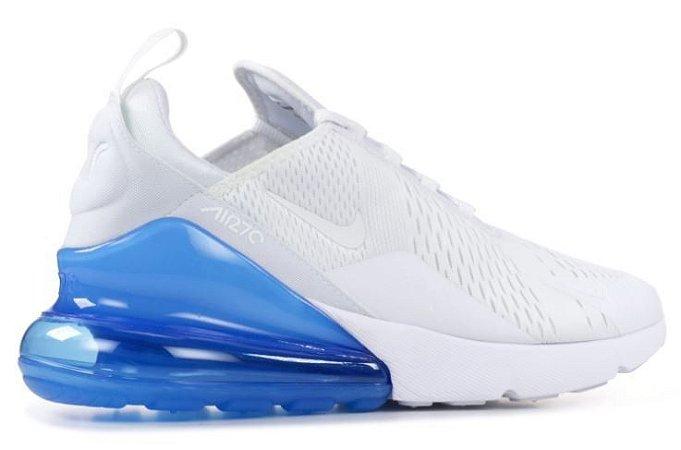 Tênis Masculino Nike Air Max 270 Branco com Azul Importado - Pronta Entrega