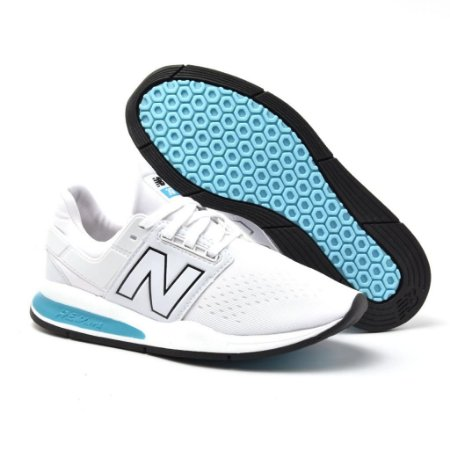 Novo New Balance 247 Unisex Branco com Azul bebe - Envio Imediato