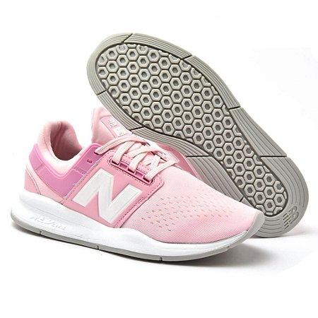 Novo New Balance 247 Feminino Rosa com Branco - Envio Imediato