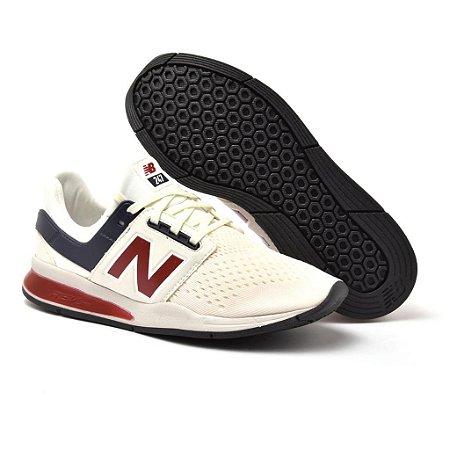 Novo New Balance 247 Masculino Branco com Vermelho - Envio Imediato