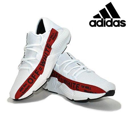 Tênis Adidas Off White Masculino Importado Branco com Vermelho