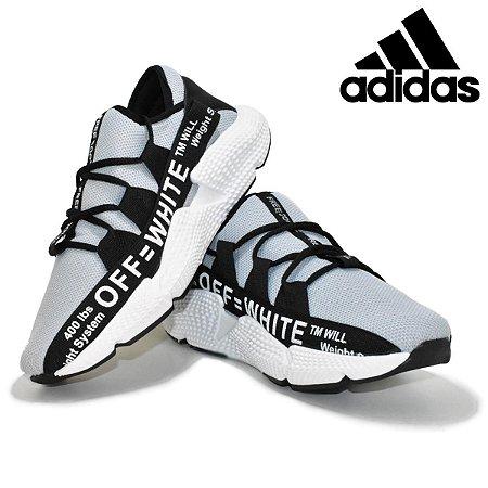 Tênis Adidas Off White Masculino Cinza com Preto Importado Pronta Entrega