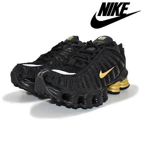 Tênis Nike shox 12 Molas Pretro com dourado Masculino Premium Importado Pronta Entrega