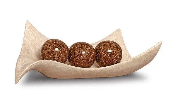 Centro de Mesa Classic Esferas Cerâmica Bege Marmorizado