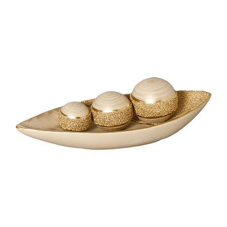 Barca com Bolas Decorativas Bege e Dourada