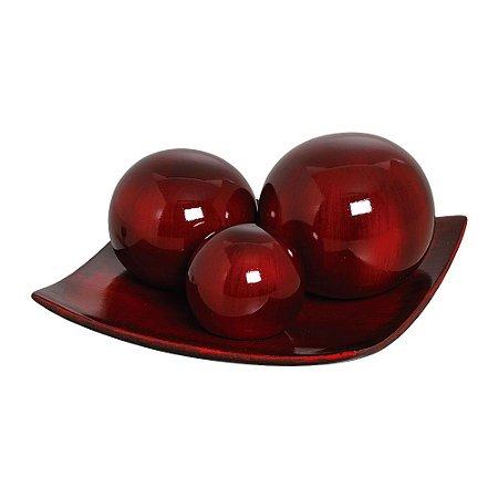 Centro de Mesa com Trio de Esferas Vinho