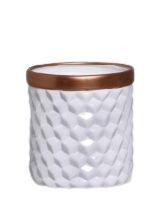 Vaso Geométrico Branco e Bronze M