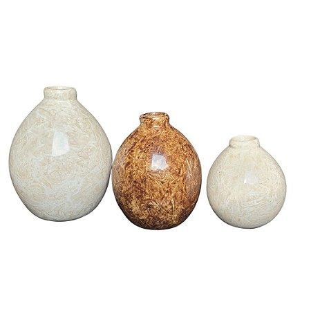 Trio de Vaso Oasis Decoração em Cerâmica Marrom e Bege