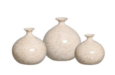 Trio Vaso Maia Decoração em Cerâmica Bege