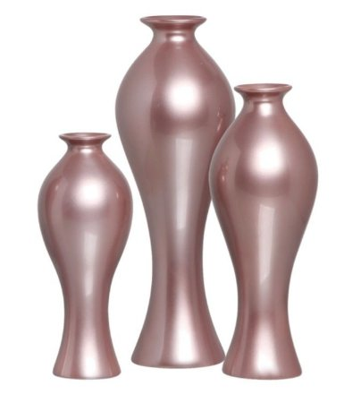 Trio Vaso Decorativo Califórnia Cerâmica Lilás