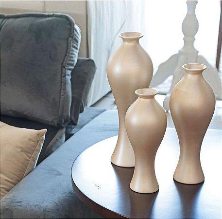 Vaso Decorativo Califórnia Trio Enfeite em Cerâmica Creme
