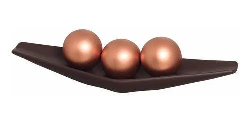 Centro De Mesa em Cerâmica Marrom Com Esferas Bronze