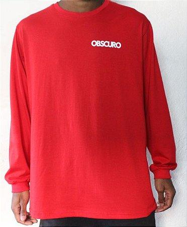 Camiseta Manga Longa OBSCURO Mini Logo Vermelha