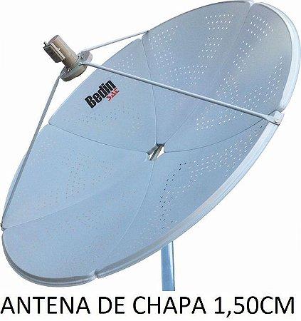 ANTENA PARABÓLICA DE CHAPA 150 + LNBF + RECEPTORES