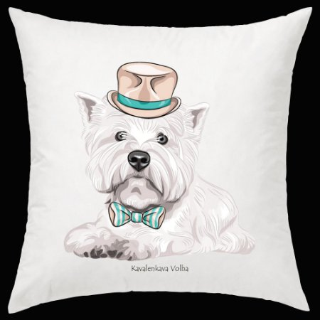 Almofada West Highland White Terrier da artista Olga Angelloz