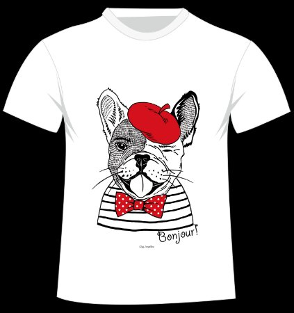 Camiseta Bulldog Francês da artista Olga Angelloz
