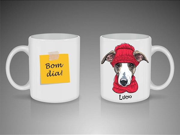 Caneca Bom Dia personalizada com ilustração e nome