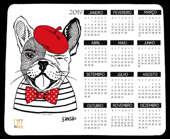 Mouse Pad/calendário personalizado com raça e nome - artista Olga Angelloz