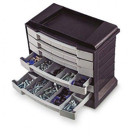 Caixa Organizadora Plástica Com 6 Gavetas 32 Divisórias