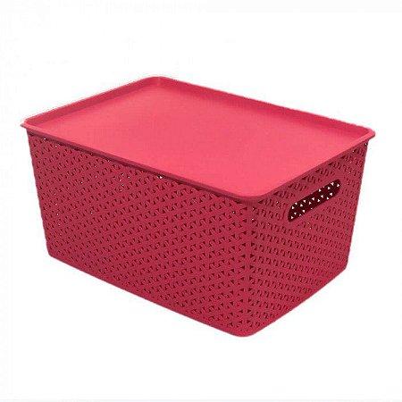 Caixa Organizadora Rattan 15 litros Plástico Empilhável - Rosa