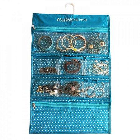 Porta Bijuteria com Cabide Organizador de Jóias, Bijoux e Acessórios 8 Bolsos