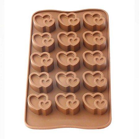 Forma de Silicone para Gelo Chocolate e Gelatina Coração