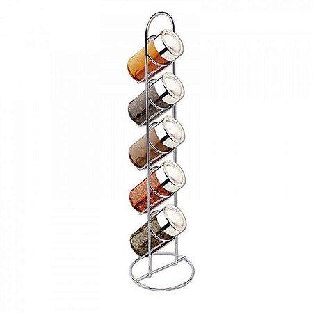 Porta Temperos Vertical com 5 Potes de Vidro e Base Aramada