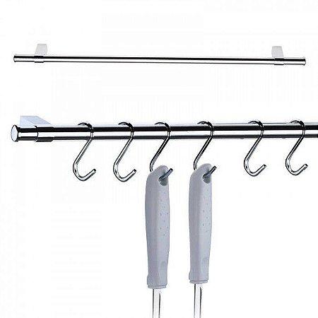 Barra para Cozinha 45cm com 6 Ganchos em Aço Cromado