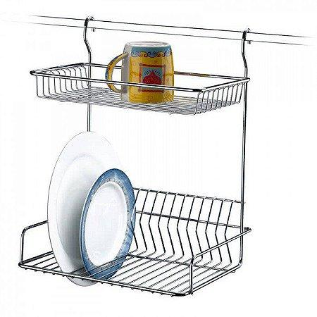 Escorredor de Louça para Barra de Cozinha em Aço Cromado - 5 Anos de Garantia