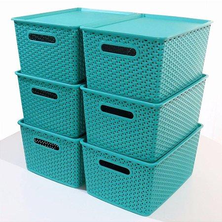 Kit 5 Caixas Organizadoras Rattan Empilhável Grande Verde