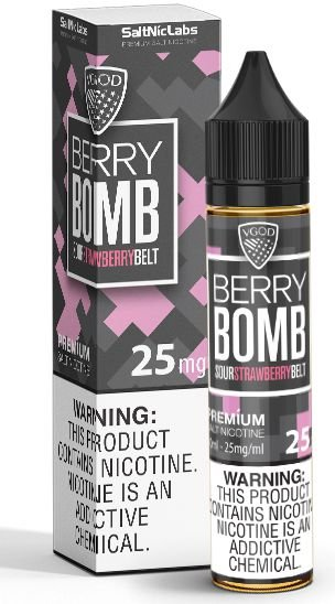 Líquido Sour Strawberry Belt Iced Salt - Berry Bomb - VGOD