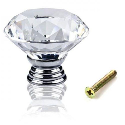 Puxador Diamante Cristal Cromado