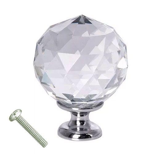 Puxador Bola Cristal Cromado