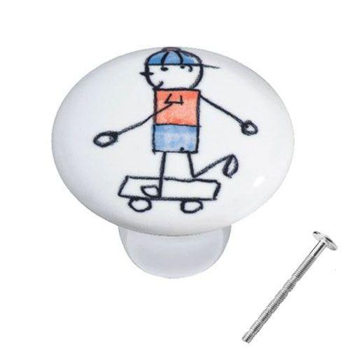 Puxador Menino Skate Cerâmica IL 7054