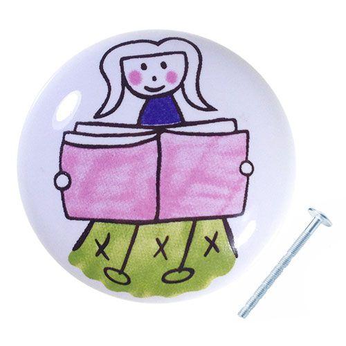 Puxador Menina Estudante Cerâmica IL 7056