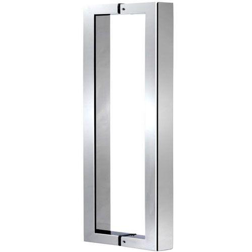 Puxador Duplo Inox Porta De Madeira/Vidro Escovado