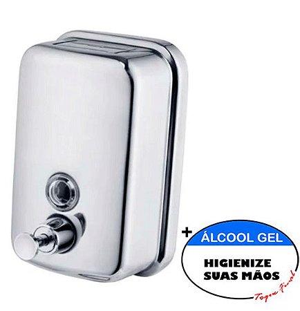 Dispenser Sabonete Líquido E Álcool Gel 500ml - Inox