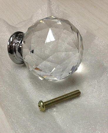Puxador Bola Cristal Cromado 40mm + frete